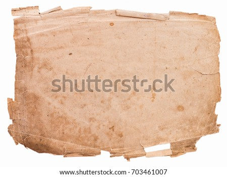 Old ragged paper on white background