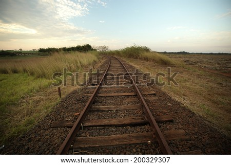 Old railroad track. Line train.