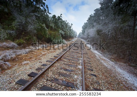 Old railroad tracks with ice covering trees on the sides - stock photo