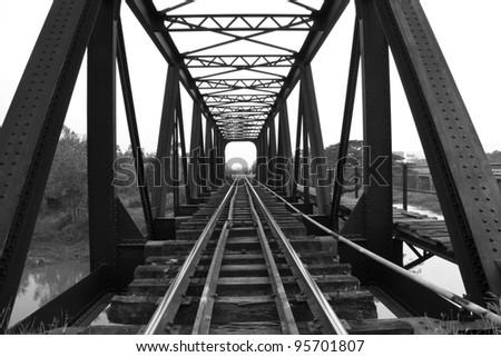 Old railway bridge - stock photo