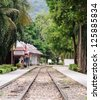 Old railway near the history bridge in the western line of Thailand. - stock photo
