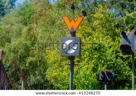 Old railway signal. The signals regulate visually, acoustically or electronically rail transport. - stock photo