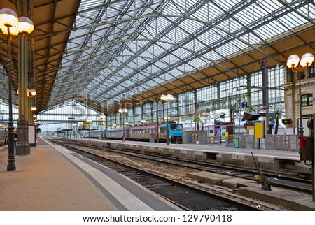 old railway station in Tours, Pays-de-la-Loire,, France - stock photo