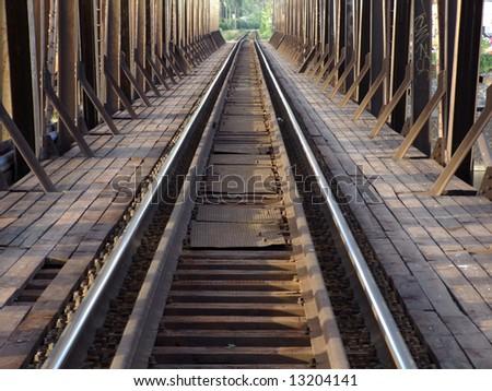 old railway viaduct - stock photo