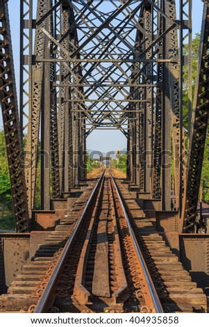 Old Railway viaduct in Thailand - stock photo