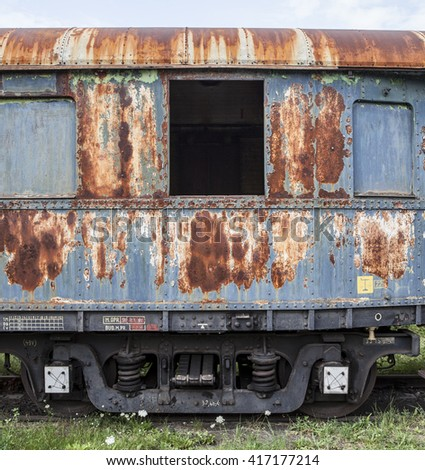 old railway wagon - stock photo
