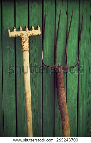 Old rake and pitchfork on a green wooden background. Old garden tools. - stock photo