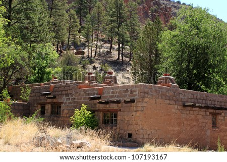 old ranch building in Frijoles Canyon, Bandelier National Monument, New Mexico