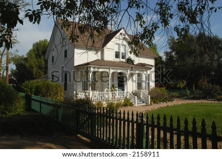 Old ranch house with picket fence, Simi Valley, California