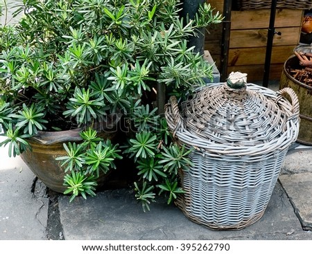 Old Rattan Wicker Weave Basket for Storage Compartment. - stock photo