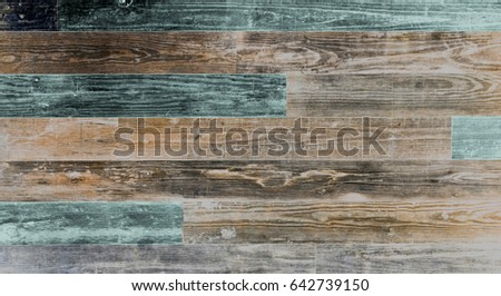 Superbe Old Reclaimed Wood Background Wall. Natural Old Shabby Wood Boards With  Turquoise Faded Colors.