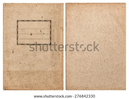 Old recycled paper book cover isolated on white background. Vintage style journal pages - stock photo