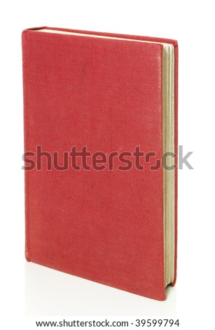Old red book isolated on white standing up