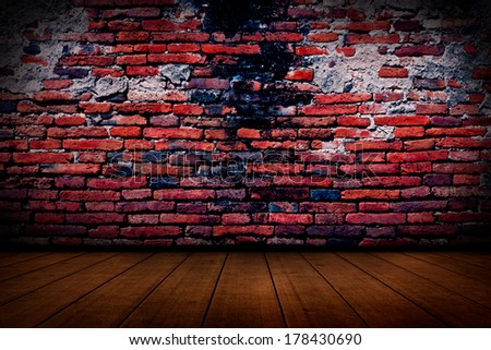 Old red brick Structure of the walls and wood  flooring.