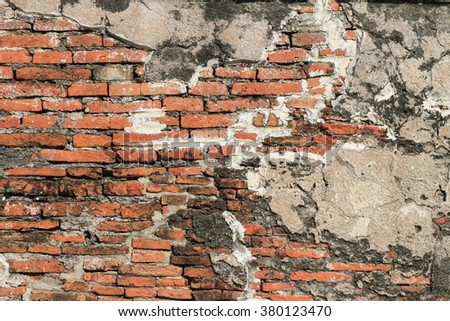 Old red brick wall bracket for background. - stock photo