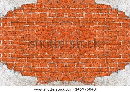 Old Red Brick Wall Disintegrated weathered Brick Fragment. - stock photo