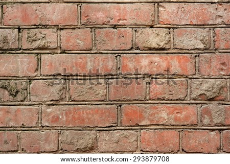 Old Red Brick Wall Fragment Background Texture Close-up - stock photo
