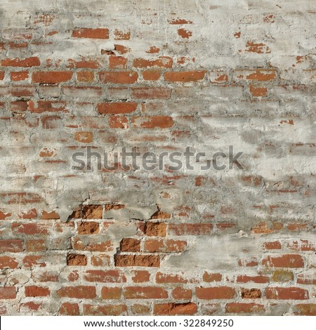 Old Red Brick Wall With White  Plaster Frame Background Texture Closeup - stock photo