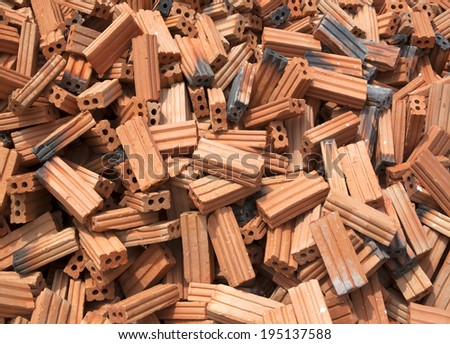 Old red bricks for construction, renovation, repair buildings. - stock photo