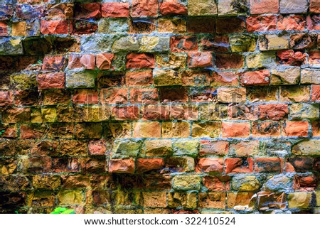 old red brickwork - abstract background texture - stock photo