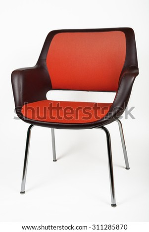 Old red brown leather vintage chair. Isolated on white background. - stock photo