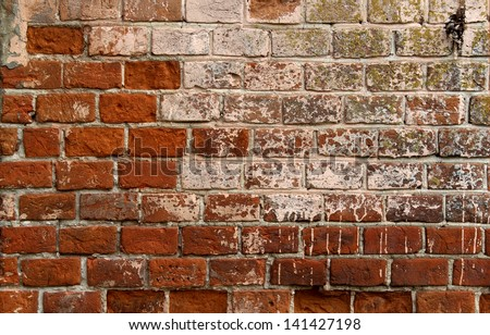 old red ceramic bricks texture, background - stock photo
