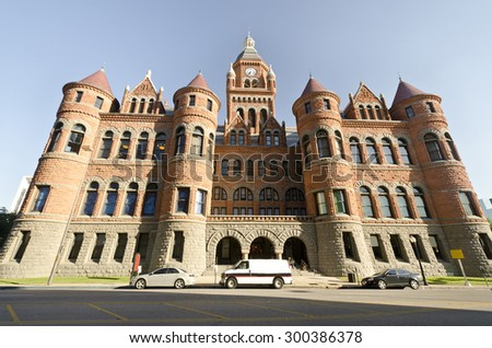 Old Red Courthouse (1892), downtown Dallas, Texas - stock photo
