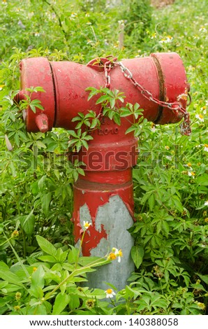 Old Red Fire Hydrant - stock photo