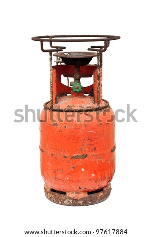 Old red gas container isolated on white - stock photo