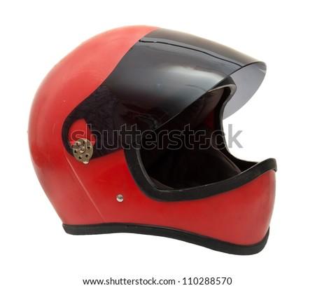 Old red helmet - stock photo