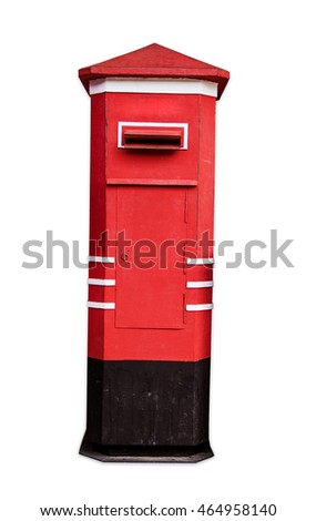 Old Red Mail Box Vintage thailand style isolated on white background