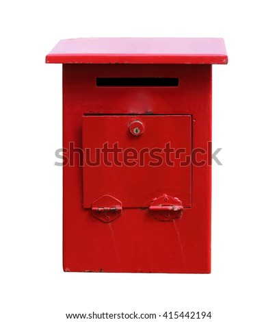 Old red mailbox isolated on white background with clipping path. - stock photo
