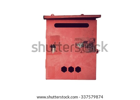 old red mailbox on white background