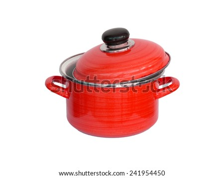 Old red metal cooking pot isolated on white - stock photo