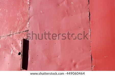 old red metal panels background - stock photo