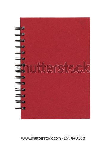 old red note book with crumpled paper white background