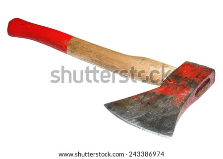 old red painted used hatchet over white background