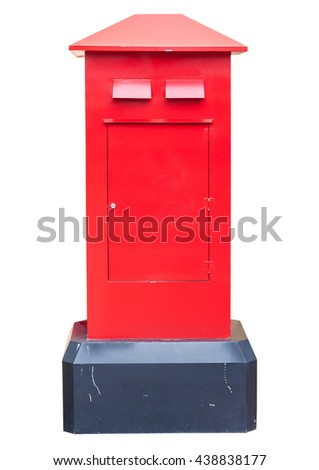Old red post box isolated on white
