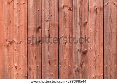 Old red rural wooden wall, detailed background photo texture - stock photo