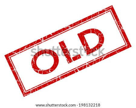 Old red square grungy stamp isolated on white background