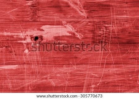 Old Red Stained Varnished Wooden Laminated Panel, Weathered, Cracked, Scratched Grunge Texture.