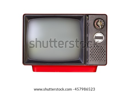 old red television isolated on white background