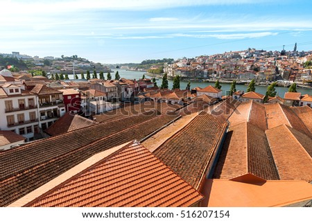 Old red tiled roofs of Porto, Portugal