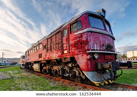 Old red train locomotive