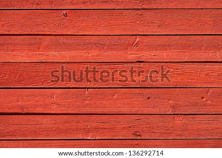 Old, red vintage horizontal wood panels from barn used as background - stock photo