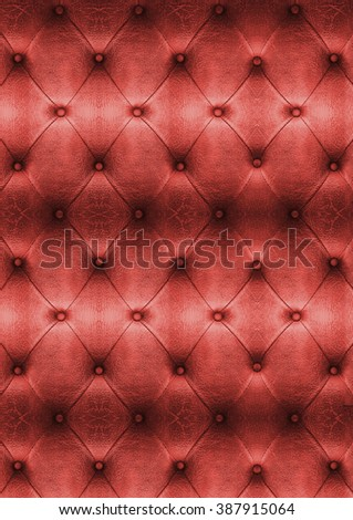 Old Red Vintage leather close-up and detail Sofa background - stock photo