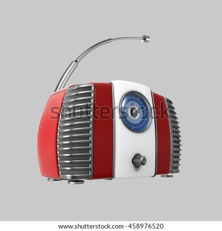 Old red vintage retro style radio receiver. 3d image isolated on grey background