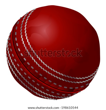 Old, red, vintage traditional retro cricket ball.