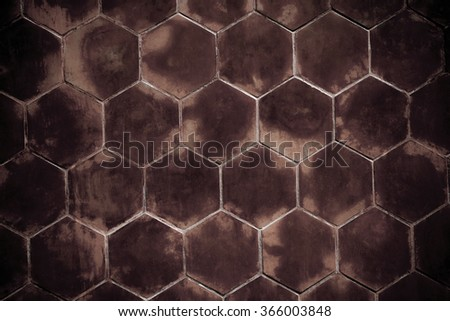 Old red wall with Hexagonal shape for background - stock photo