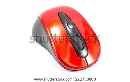 old red wireless mouse on pure white background - stock photo